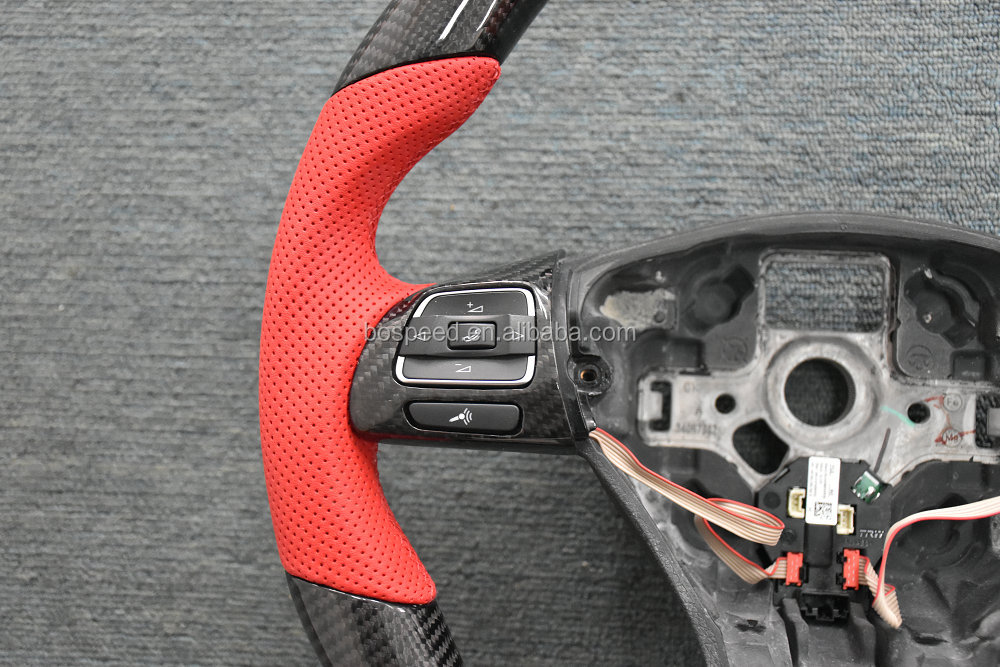 Short Leather Styple 100% Real Carbon fiber steering wheel for VW CC Magotan Tiguan Sagitar Golf 6