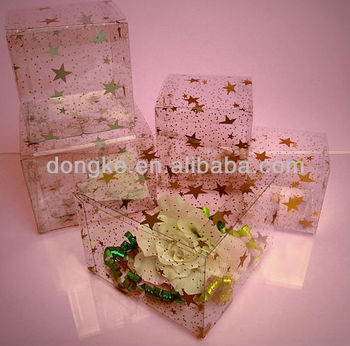 clear star pattern clear tuck top box for birthday gifts