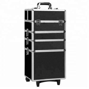 professional aluminum trolley nail beauty vanity case with wheels