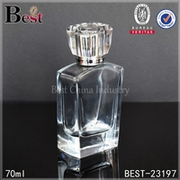 empty glass perfume bottles high end clear transparent blown glass perfume bottles 70ml unique square empty glass perfume bottle