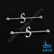 5mm Balls Steel English Letter S Ear Unique Industrial Barbell