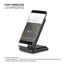 Qi certified 2 coils fast wireless charger phone charger dock for mobile phone support stand charging LED indicator