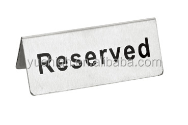 Metal Restaurant Table Reserved Sign Stand