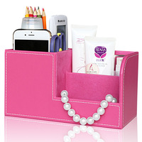 Home Organization Pink Multifunctional Leather Sundries