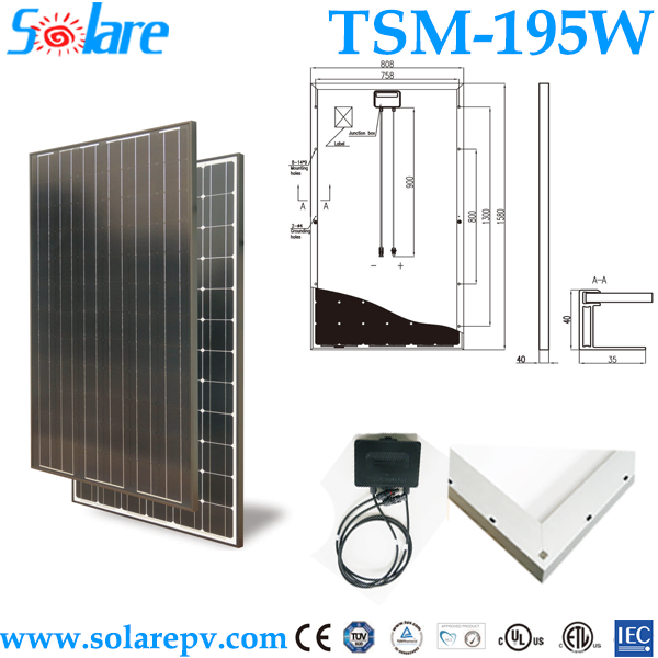 Roof mounted pv module 195W monocrystal solar panels for home system