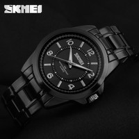 All black IP vacuum electronic plated quartz watch with strong 5 ATM water resistance