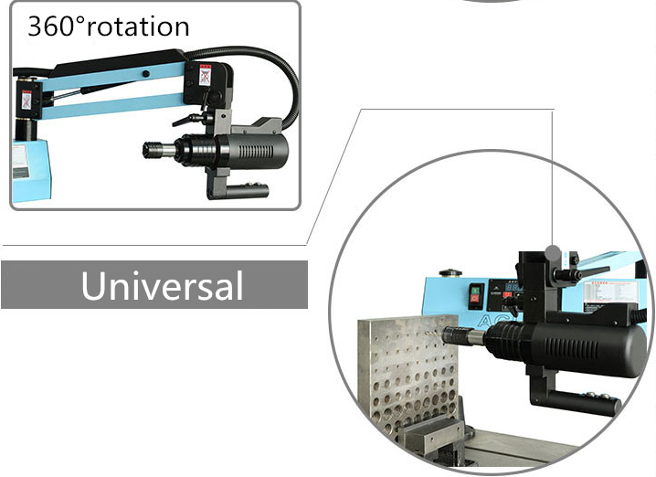 Steel rod threading machine for plastic machinery flex arm tapping machine from China manufacturer