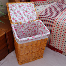 Natural material handmade wicker laundry hamper with removable bag