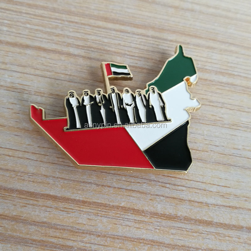 UAE national days hotsale badge plated bright gold with the magnet