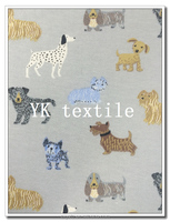dog and cat french terry fleece fabric for hoodies