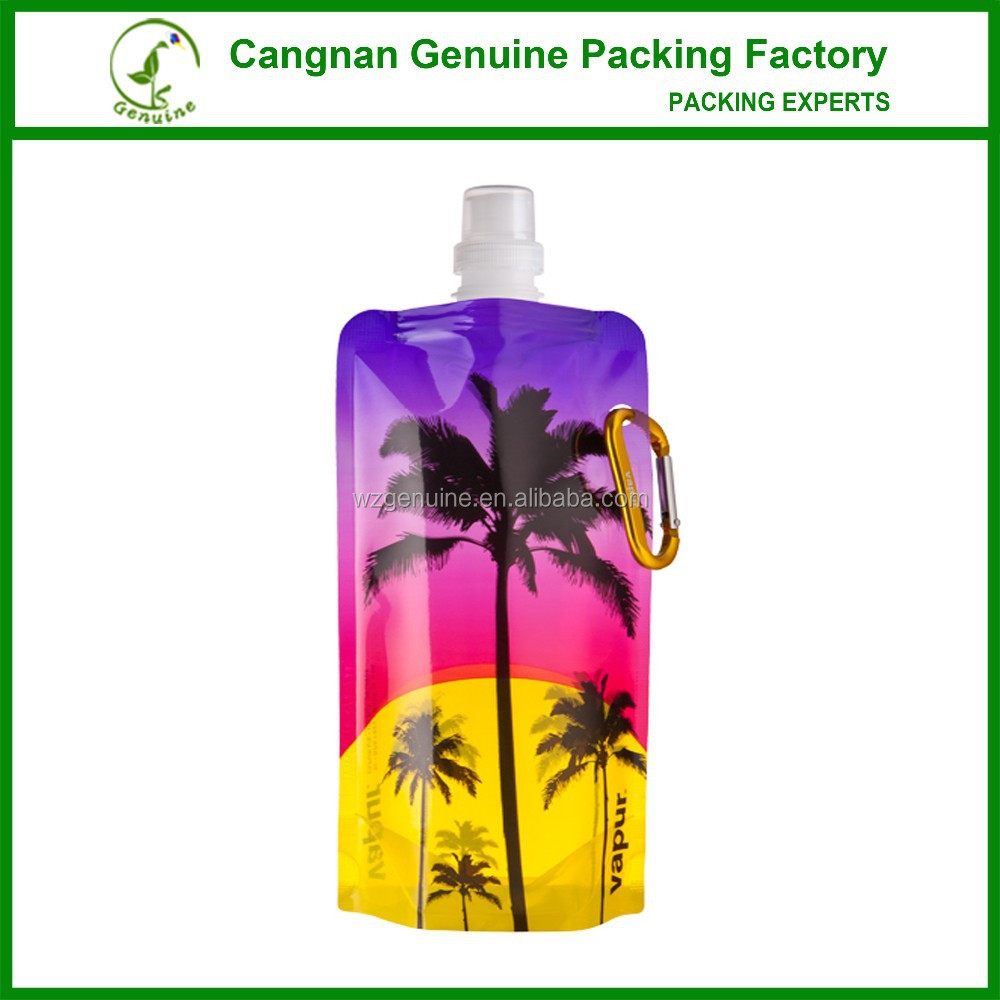 soft customized reusable foldable water bottle with carabiner clip