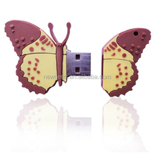 novel design custom butterfly shape pvc usb pendrive 2gb 4gb 8gb, creative pvc usb flash drive, factory wholesale pvc