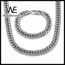 Jeans Clasp Stainless Steel Heavy Chain Man Bracelet Jewelry Set
