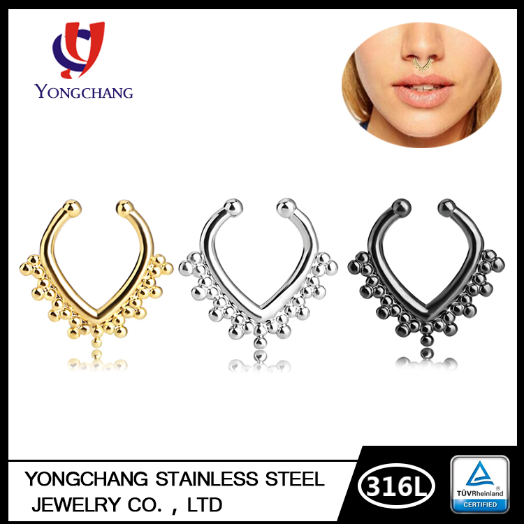Free Sample Cute Septum Ring Non Piercing Body Jewelry Nose Ring