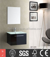 High quality wall hung glass vanity top with vessel sink