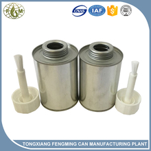 metal tin can with brush on lid for paint industry