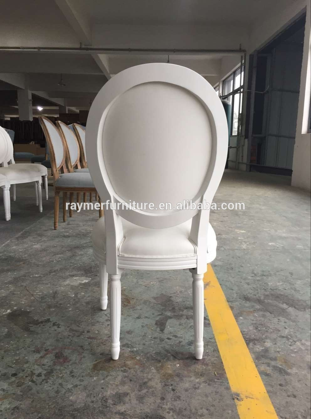 Classic oval back french style white wood dining chair for White oval back dining chair