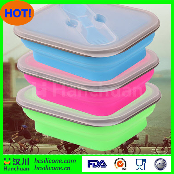 1 Set FDA Standard Silicone Lunch Box Silicone Lunch Box For Kids Foldable Dinner Box With Fork Silicone