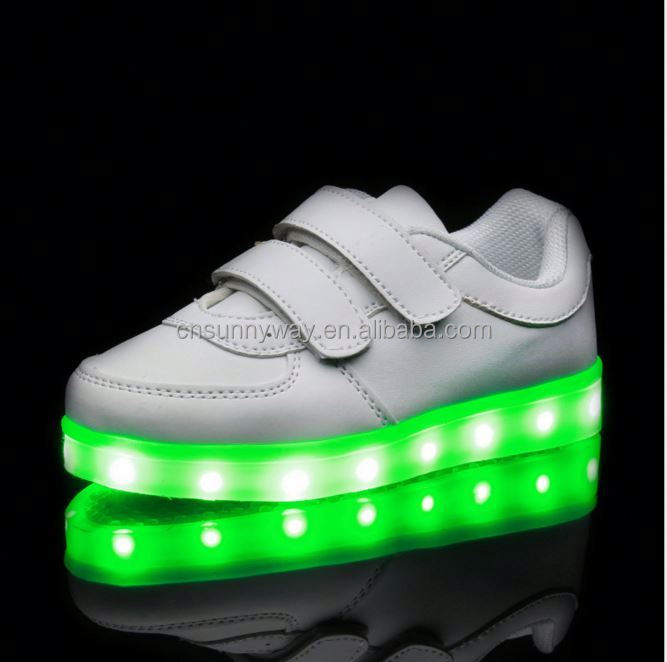 Fashion genuine leather women led sport running customized led shoes