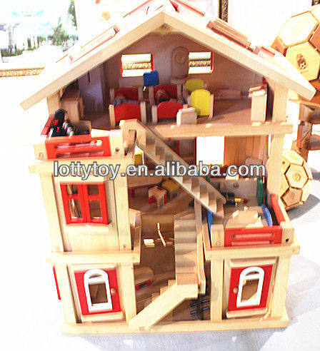 Kids wooden doll house with furniture