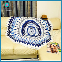 China Factory 100 cotton velour reactive printed round beach towel round