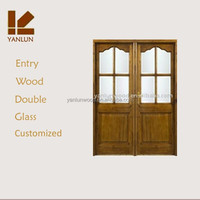china supplier arhc top solid teak wood glass design wrought iron double entry doors