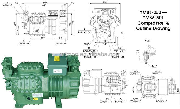 Bitzer Compressor Wiring Diagram : Yemoo hp cold roo piston bitzer semi hermetic compressor