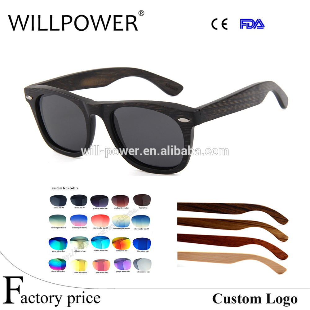 Wholesale sunglasses custom logo spring metal hinge polarized lens bamboo sunnies