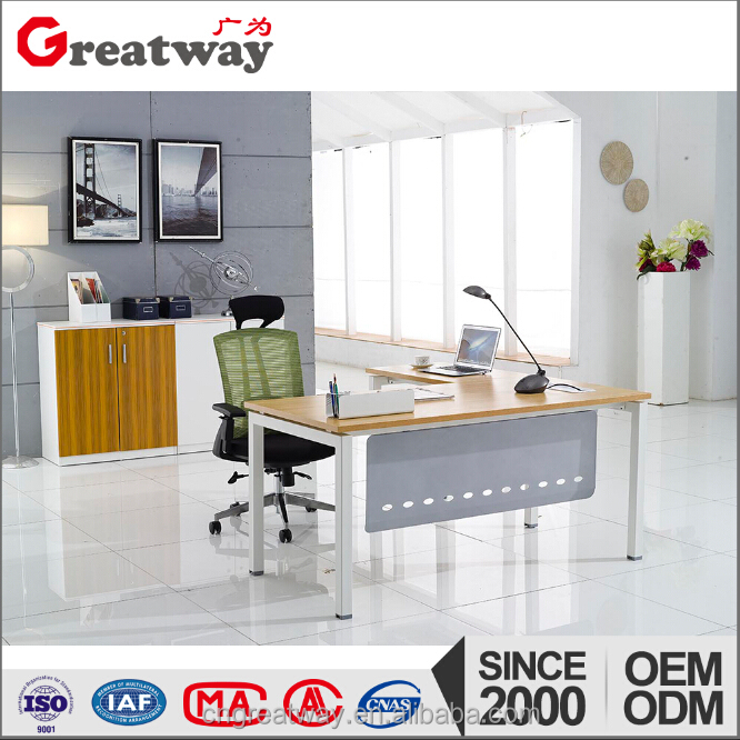 Structural steel weight l-shape office table with description(HB1-L)