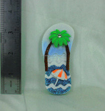 slippers style sea beach promotional fridge magnet gifts, product resin