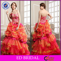EDW339 New Arrival Sweetheart Multi Layer Embroidery Rainbow Colored Wedding Dresses