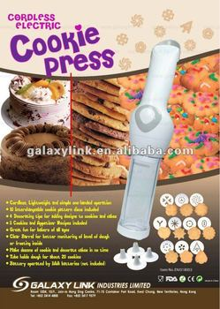 Battery Operated Electric Cookie Press with 10 interchangeable discs