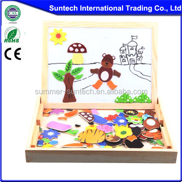 Hot Multi-functional wooden magnetic drawing board puzzle Educational toys