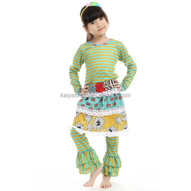2017 hot sale fall winter children clothes olive and mustard striped top with pant skirt children boutique clothing