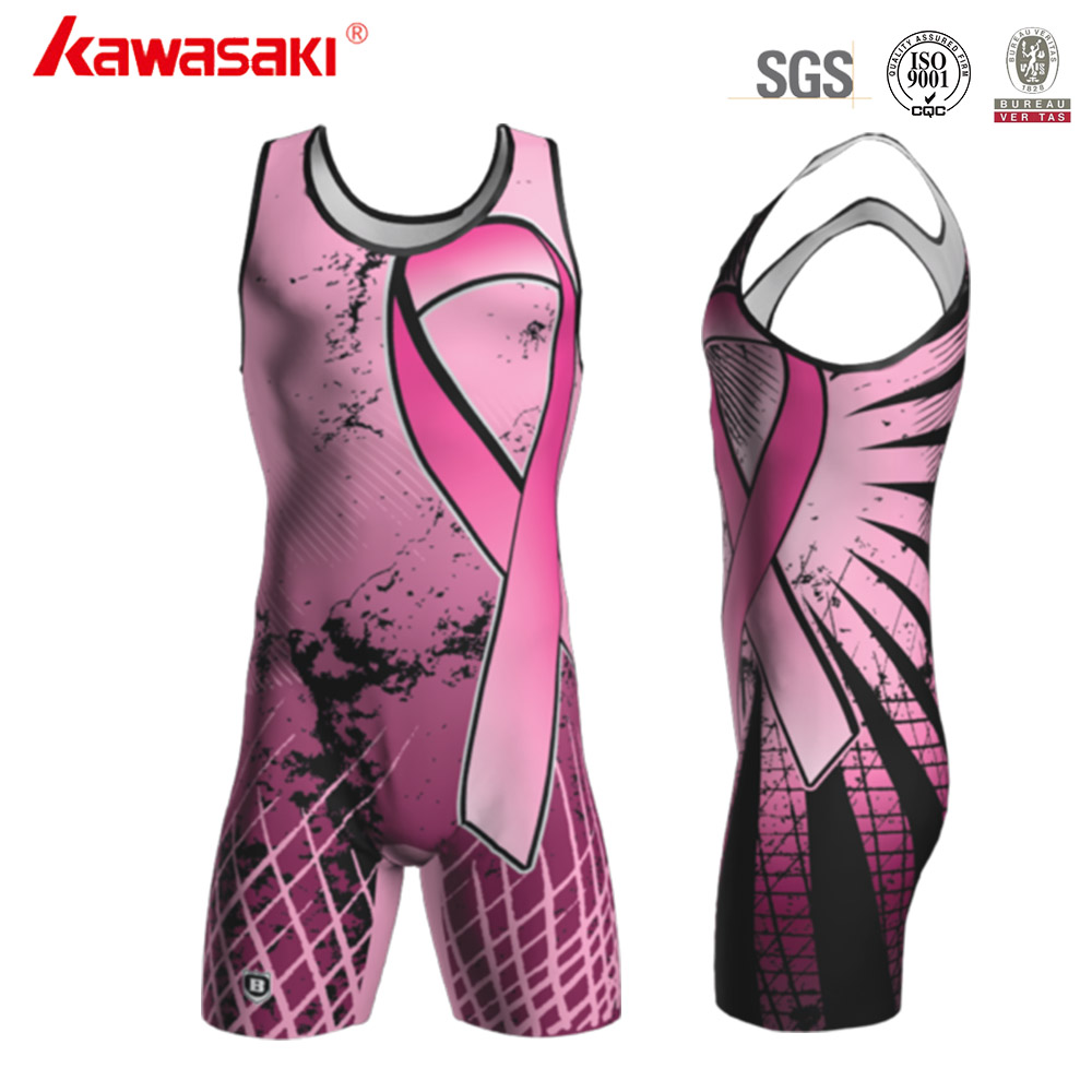 China Manufacturer Lycra Fabric Dry Fit Pink Funny Wrestling Singlet