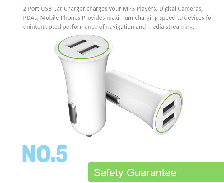 Wholesale Universal Quick Charging Custom Smart Mobile Phone Accessories Portable Dual Usb Car Charger For iPhone