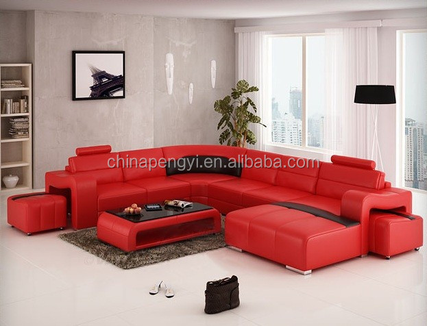 Hot Sale Modern big L-shaped genuine leather Corner Sofa Best living room sofa PY-VO16