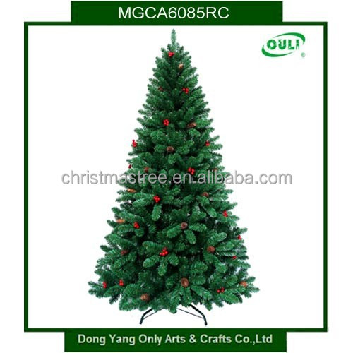 6FT Mixed PVC Berries and Pinecones Decorated Artificial Christmas Tree