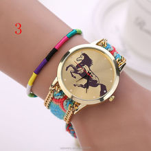 2016 China Factory Horse Face Knitting Bracelet Watch , Geneva Vogue Fancy Ladies Jewelry Watch China uhren