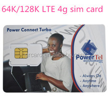 Usine international 64k128k LTE 4g carte sim avec 4FF slot programmable pour mobile appelant