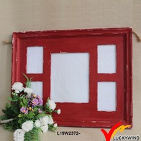 shabby red finish reclaimed wood photo picture frame