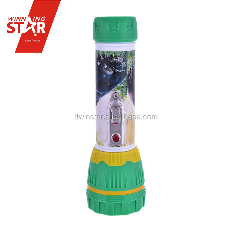 2* D Size Battery Backup Flower Pasted Powerful Flashlight Torch