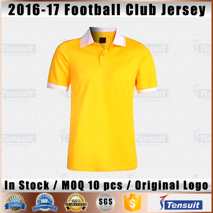 Custom your own design thailand quality soccer jersey yellow color fashion sports wear style jersey polyester men football shirt