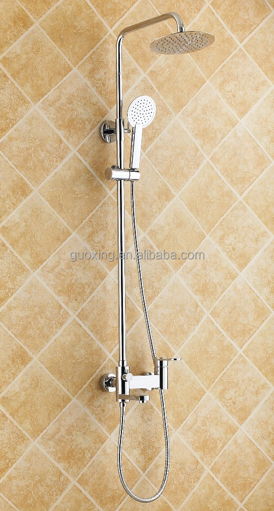 brass square hard tube shower mixer set/wall mounted bath shower faucet