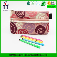 Tribal printing two zippers canvas pencil case pen bag