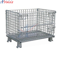500-800kg industrial stackable wire storage basket with wheels