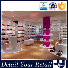 Retail Store Decoration Modern custom lighted glass display case for retail shoes shop