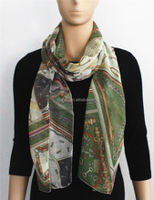 Green Triangle Printed Polyester Scarf