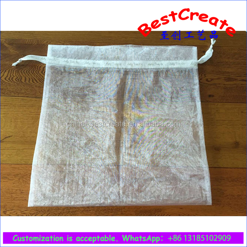 Custom printed ribbon 15x23cm white organza cosmetic packaging bags with drawstring