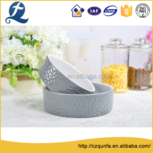 Customized glazed collapsible stoneware pet bowl set with stamp
